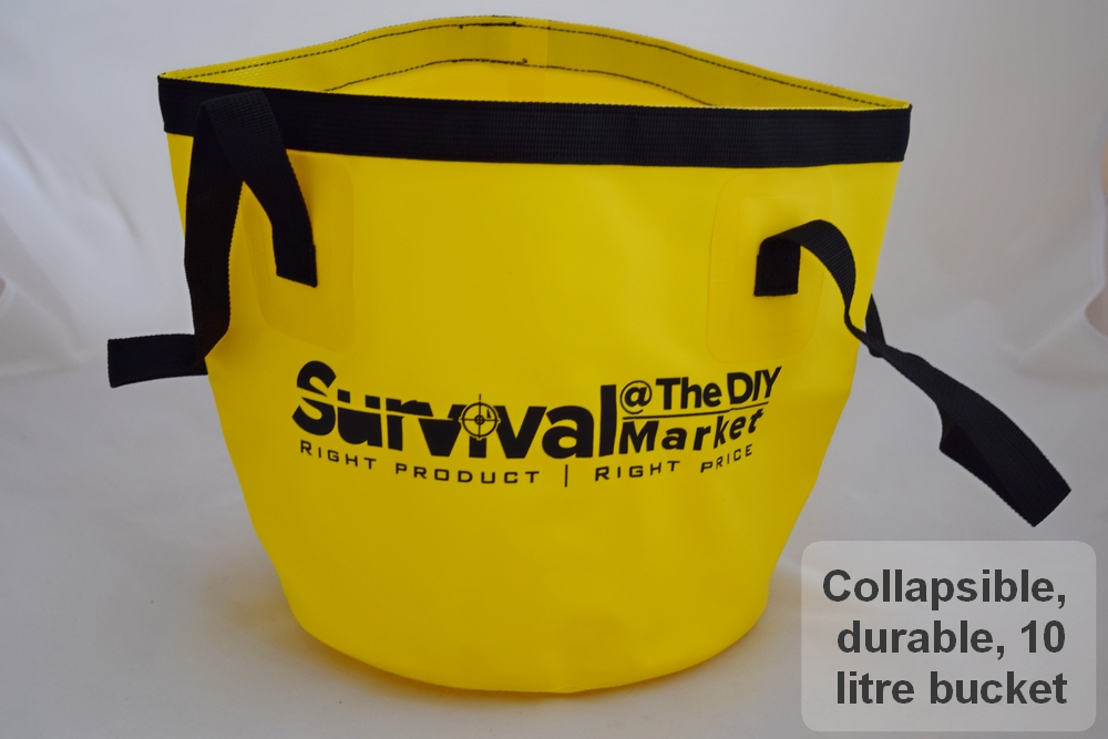 Each kit includes a collapsible but extremely tough, 10 litre water bucket