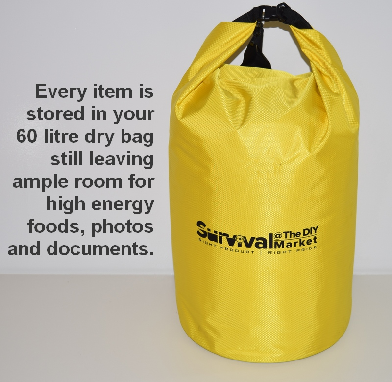 Every survival item is stored in your 60 litre dry bag still leaving ample room for high energy foods, photos and documents.