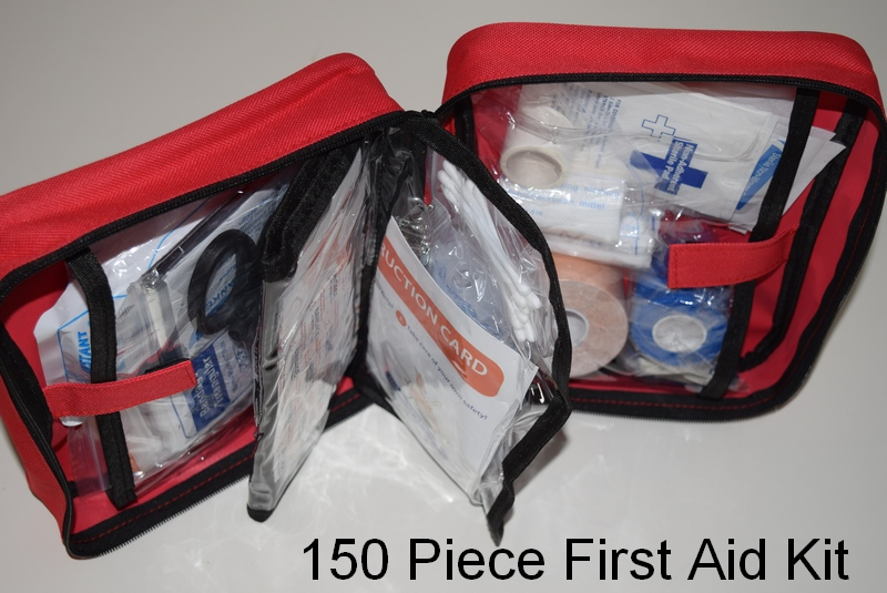 Our survival first aid kit contains 150 essential items including swabs and a tourniquet.