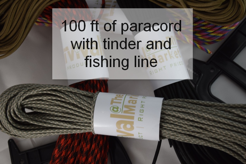 100ft of 550lb paracord with integrated waxed tinder and fishing line.
