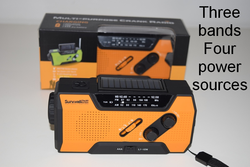 Our emergency radio has four separate power sources and three bands including weather