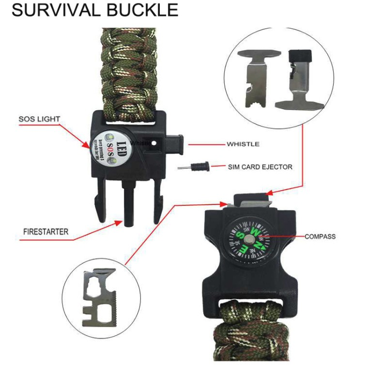 Survival buckle and 10ft paracord bracelet