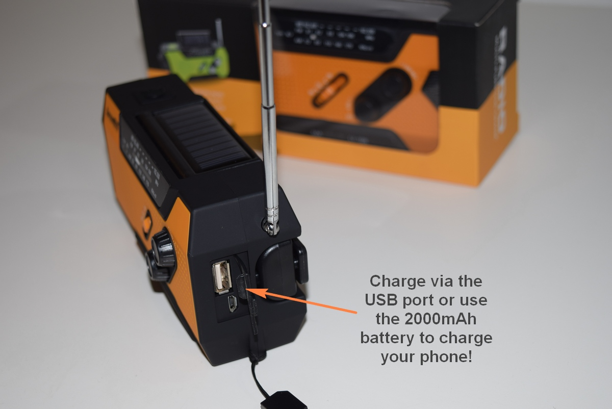 Charge your survival radio from mains power or use the big 2,000mAh battery to charge your phone