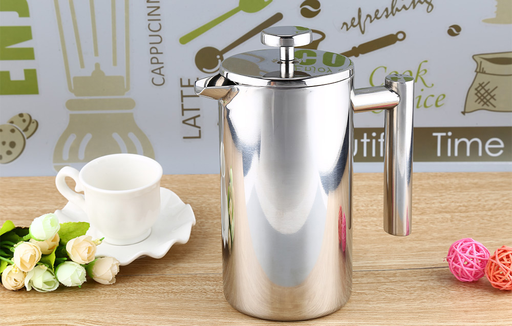 800ML Stainless Steel Cafetiere French Press with Filter Double Wall