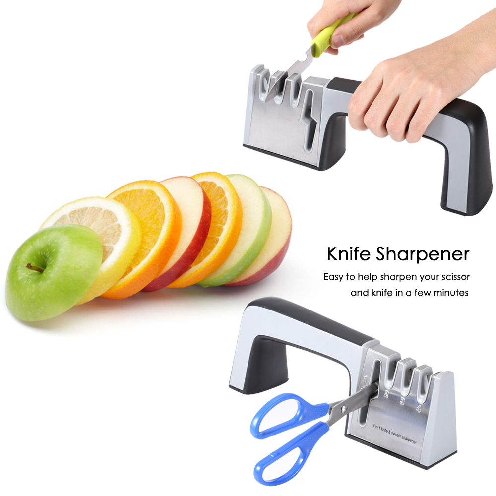 ZHAOLIDA Unique Cutting 4 in 1 Stainless Steel Knife Scissor Sharpener Ceramic Whetstone Hand Tool