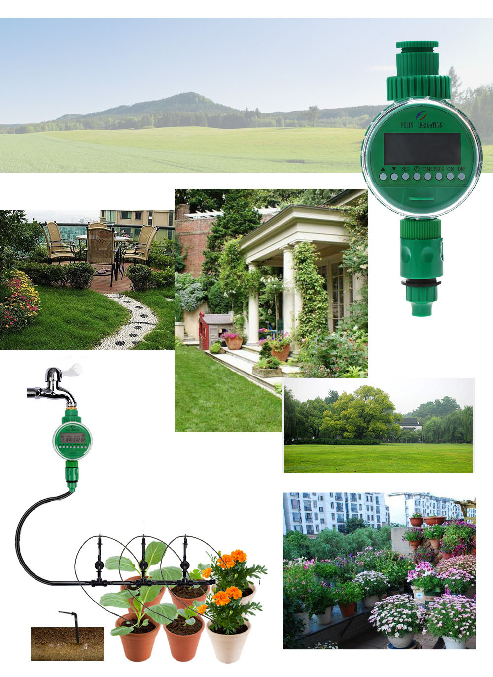 LCD Display Home Ball Valve Automatic Water Timer Garden Irrigation Controller