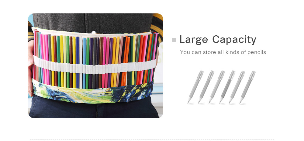 Watercolor Ink Painting Canvas Stationery Pencil Wrap Pouch Roll Organizer