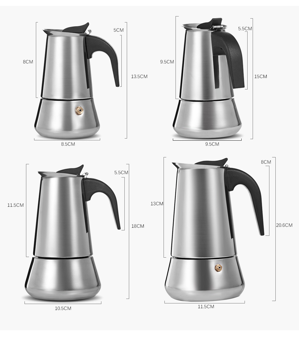 Stainless Steel Moka Coffee Pot Stovetop Espresso Maker