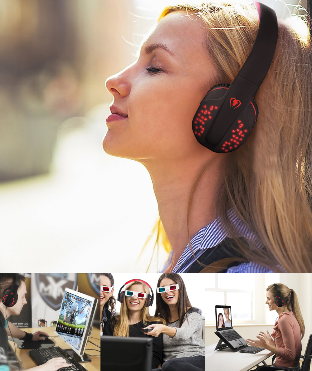 Beexcellent Q2 Over-ear Stereo Dynamic Bluetooth Headset with Mic and LED lights