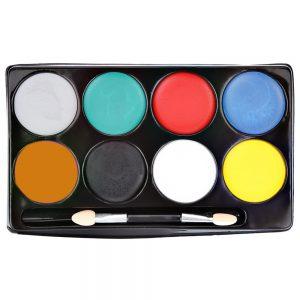 8 Color Non-toxic Water Makeup Face Halloween Paint Color Devil Fans