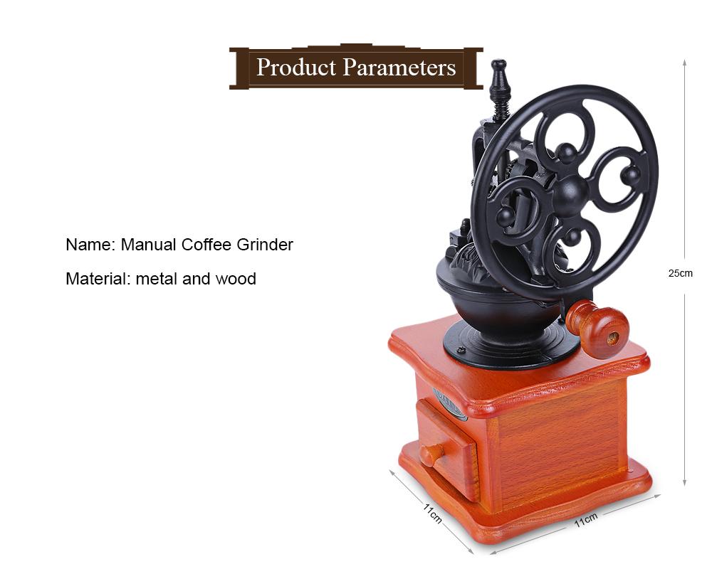 Retro Style Coffee Grinder Hand Grinding Machine Hand-crank Roller