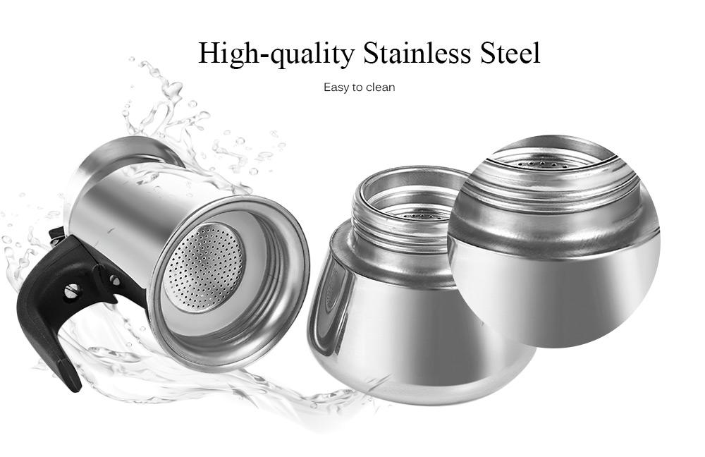 Stainless Steel Moka Coffee Pot Stovetop Espresso Maker