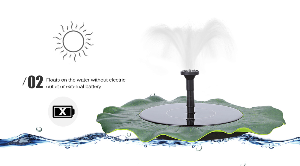 Pond Garden Fish Tank Pool Water Pump Floating Solar Fountain Power Panel