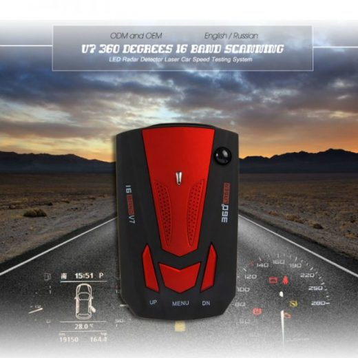 V7 360 Degree LED Laser Radar Detector Car Speed Voice Alert