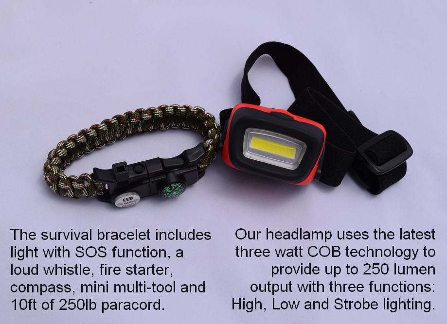 Multi-function Paracord Bracelet and 250 Lumen Headlamp