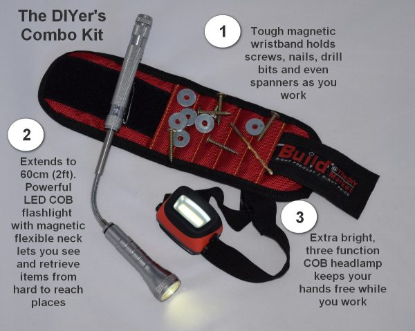 The DIYer's Combo Kit - extendable magnetic flashlight, COB headlamp and tough, magnetic wristband